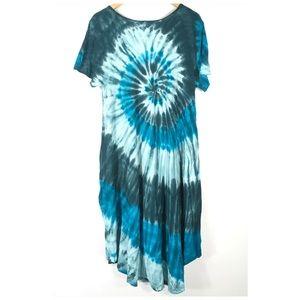 LuLaRoe Dresses - LulaRoe Tie Dye Blue Green Carly Dress Medium